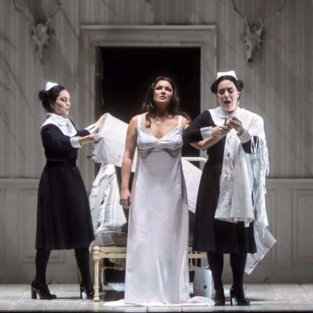 Anna Netrebko, centre, with Cassandra Zoé Velasco, left, and Katherine Whyte, right. Metropolitan Opera: Iolanta