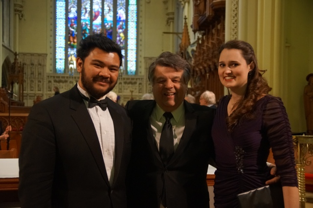 Charles Sy, Darryl Edwards, Claire de Sévigné at the COSI Connection performance at Hamilton's Christ's Church Cathedral