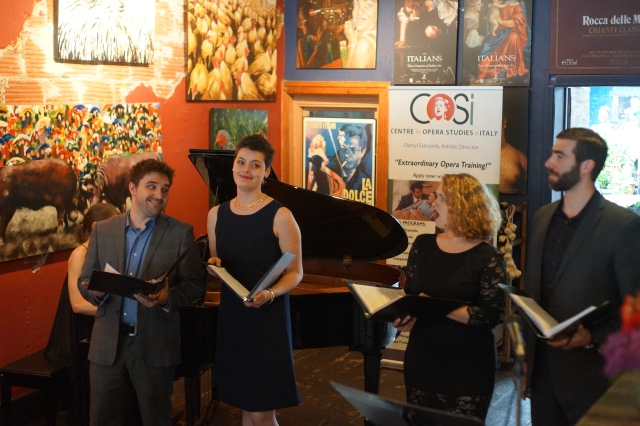 "Pianist Kathryn Tremills, tenor Justin Stolz, mezzo-soprano Emily D'Angelo, soprano Danika Lorèn and bass Vartan Gabrielian, in the ""Bella Figlia"" quartet from RIGOLETTO"