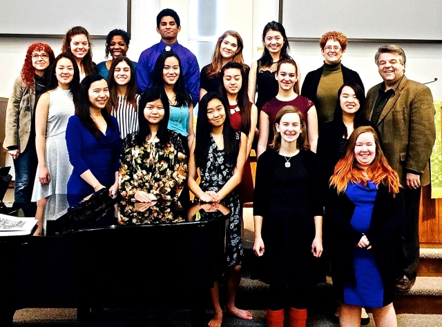 With Michelyn Wright (back row, second from right) and her voice students, with pianits Ellen Meyer (top left),